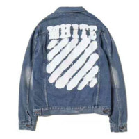 OFF-White Women Fashion Retro Letter Wave Stripe Long Sleeve Denim Cardigan Coat G-CN-CFPFGYS