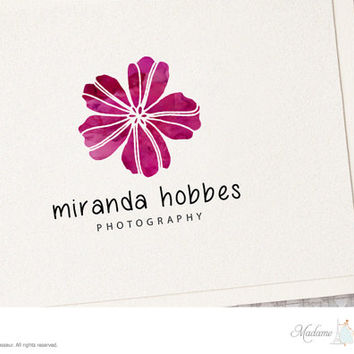 premade logo design flower logo watercolor floral logo photography logo blog logo website logo business logo floral logo etsy shop logo
