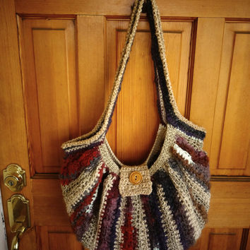 Striped Bag, Crochet Purse, Crochet Tote, Casual Bag, Boho Purse, Hippie Tote, Shoulder Bag, Crochet Lined Bag, Pouch Bag, Saddle Bag Purse