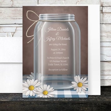 Mason Jar Wedding Invitations and RSVP - Rustic Country Daisy Gingham Brown - Printed Invitations