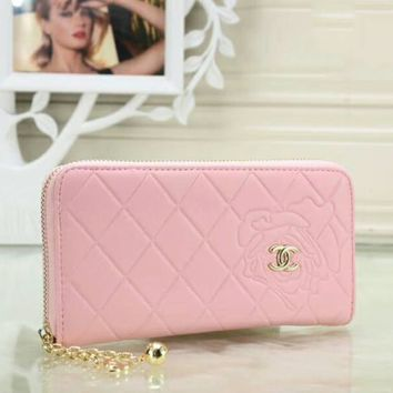 CHANEL Fashion Women Pure Color Leather Metal Zipper Wallet Purse I-OM-NBPF