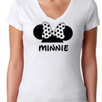 Minnie Mouse Ears /  Womens T-Shirt V Neck / Multi Color Choices / Disney Vacation / Disney Trip