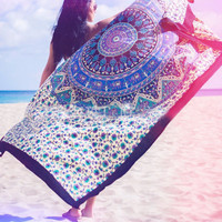 Beach Throw Tapestry Hippy Boho Gypsy Cotton Tablecloth Beach Towel , Round Yoga Mat  11917 150cm*210cm