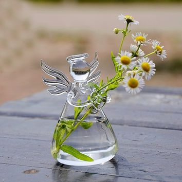 Clear Angel Shape Glass Hanging Vase Bottle Terrarium Plant DIY Table Decor