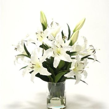 Casablanca Lilies In Glass Cylinder Vase