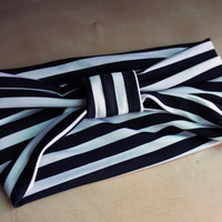 Black and White Stripe Turban Headwrap