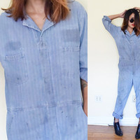 Vintage UNISEX dirty distressed american mechanic jumpsuit romper oversized coveralls workwear oil field pilot Size 42 RG