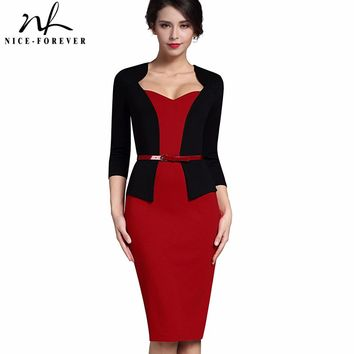 Nice-forever Stylish One-piece Faux Jacket Elegant V-neck Work dress Office Bodycon Female 3/4 Sleeve Sheath Woman Dress B328