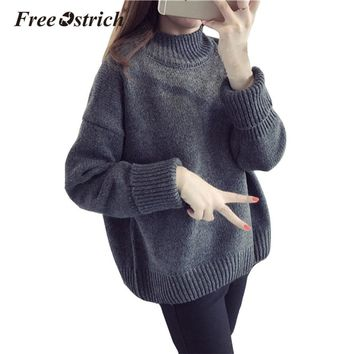 Free Ostrich Women Autumn Winter Sweater Turtleneck Pullover Long Sleeve Oversize Sweater Knitted Warm Pull Femme Poncho Oct2032