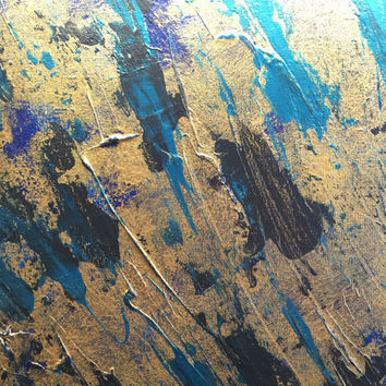 Original abstract acrylic painting gold turquoise navy black metallic 11x14 on canvas panel