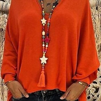 2019 New Women Sexy V Neck Loose Chiffon Blouse Shirt 2019 Autumn Winter Long Sleeve Black Red Blouses Tops Plus Size 5XL