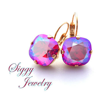 Swarovski® Crystal Earrings, Light Siam Shimmer, NEW 2017/2018 Color, 10-12mm Cushion Cut or Round, Studs Or Drops, Assorted Finishes