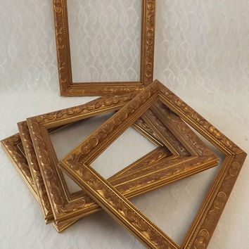 5 Gilt Wood Ornate Picture Frames, 8 x 10 Embossed Gold Leaf Photo Holders, Art & Craft  or Wedding Supply