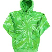(TRENDY-NEW-NEON-LIME-GREEN & WHITE-SPIDER,FLEECE-TYE-TYED-PREMIUM-PULLOVER-HOODIES:)