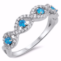 Sterling Silver CZ Simulated Blue Topaz Simulated Diamond Infinity Evil Eye Fusion Ring