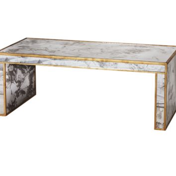 Worlds Away Parsons Mirrored Gold Coffee Table