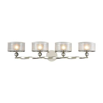 Corisande 4-Light Vanity Lamp in Polished Nickel with Silver Organza Drum Shades and Frosted Glass