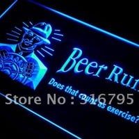 i119 Beer Runs count as exercise? LED Neon Light Sign On/Off Switch 7 Colors 4 Sizes