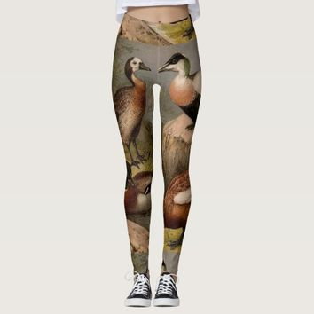 Colorful vintage painting of ducks leggings