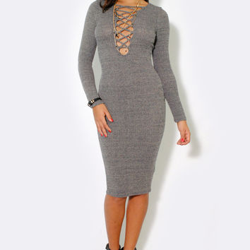 (alt) Laced up ribbed knee length gray dress