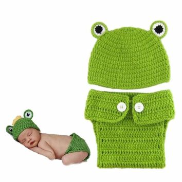 OB Green Frog Crochet Knitted Hat and Diaper Cover Photo Prop
