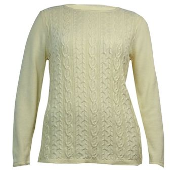 Karen Scott Women's Boat Neck Cable Knitted Sweater