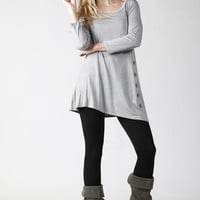 Asymmetrical Tunic Top - Gray
