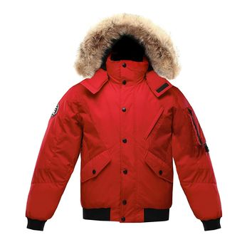 Triple F.A.T. Goose Scotia Mens Hooded Goose Down Jacket Parka with Real Coyote Fur