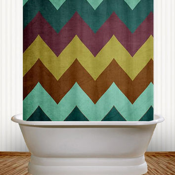 Mountain High - Peacock Chevron Shower Curtain - teal, purple, chartreuse, bathroom, college, dorm, apartment, vintage, stripes, zig zag