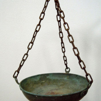 Antique Hanging Pan with Chains Suspension / Primitive Industrial