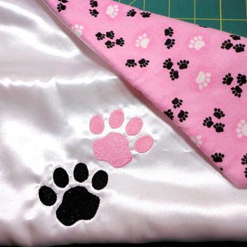 Small Dog Luxury Blanket Satin Flannel Fleece Paws Embroidered Handmade Pink White Black