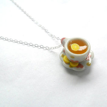 Lemon Heart Tea Cup and Saucer with Lemon Slices Necklace, Cute, Choice of Sterling Silver, Stainless Steel, or Silver Plated Chain :)