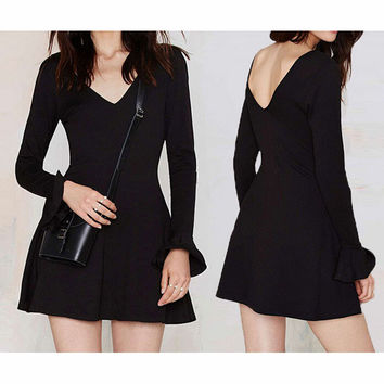 FASHION LOTUS SLEEVE V-NECK DRESS