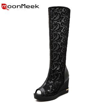 MoonMeek 2017 women new arrive high heels summer Boots fashion wedges shoes peep toe zip Lace knee high boots  simple