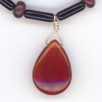 Red and Black Necklace with Red Teardrop Agate Gemstone by Lehane