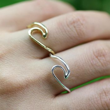1pcs  Ocean Wave Ring Recycled Silver Ring