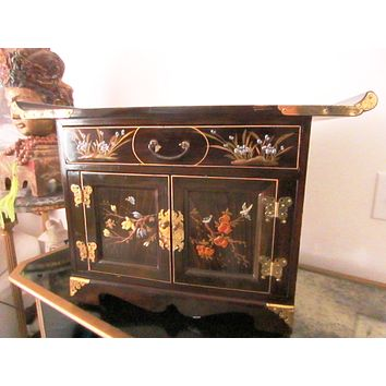 Asian Altar Castle Cabinet Floral Birds Enameling Brass Butterfly Hinges