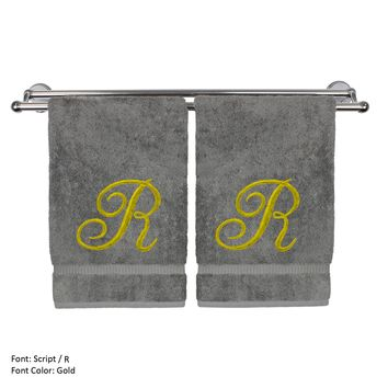 Monogrammed Hand Towel, Personalized Gift, 16 x 30 Inches - Set of 2 - Gold Embroidered Towel - Extra Absorbent 100% Turkish Cotton - Soft Terry Finish - For Bathroom, Kitchen and Spa - Script R Gray