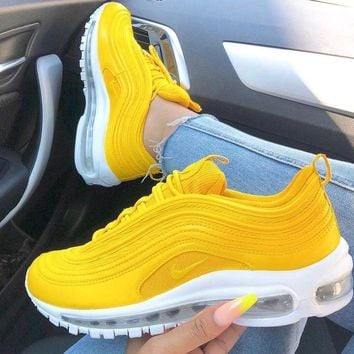 NIKE AIR MAX 97 classic bullet full palm cushion cushioning sports and leisure running shoes yellow