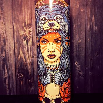 Native American art, Indian headdress art, tribal art, tribal artwork, Scented Candle, southwest art, Southwest Decor, Desert Art, Candle