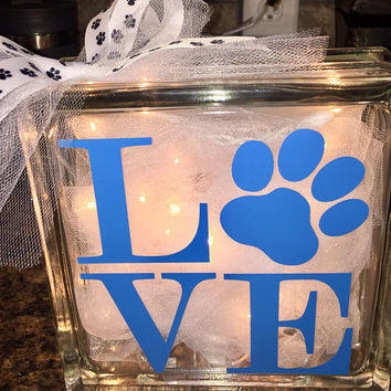 Paw Print Lighted Glass Block, Custom Designs