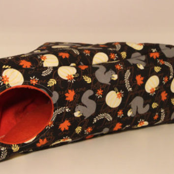 Guinea Pig Triangle, Fall Themed Hedgehog Cube, Corner Rat House - Autumn Squirrels with Orange Fleece