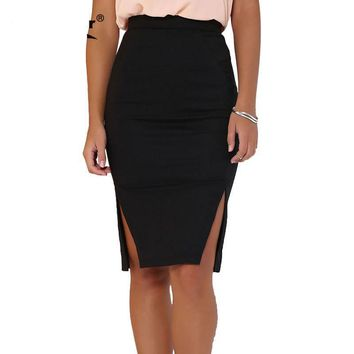 Fomal Black Office Pencil Skirts Autumn Plus Size Formal Women Clothing Chic Sexy Midi Women Skirt