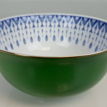 Japanese Tachikichi Decorative Bowl, Emerald Green Gold Porcelain, Cobalt Blue and White Porcelain Bowl, Classic Blue White Serving Dish