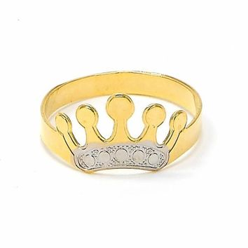 Gold Layered Baby Ring, Crown Design, Two Tone