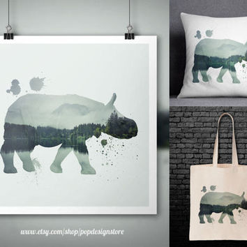 Rhino Double Exposure City Landscape Forest Animals Print Poster Tote Bag Mug Frame Pillow Case - Digital File for Download PNG High Quality
