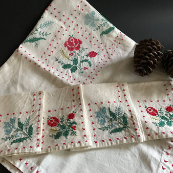 Vintage Tablecloth and Napkin Set Cross Stitch Design Linen, Handmade, Kitchen, Red Blue Green, 33 by 33, Square, Embroidery