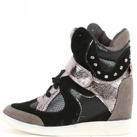 SwiftNew Black Metallic Studded Wedge Sneakers | MakeMeChic.com