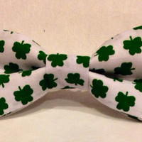 Shamrock St. Patrick's Day Bow Tie, St. Patrick's Day Hair Bow - Shamrock bow, White and green bow- Baby, Toddler, Child, Adult