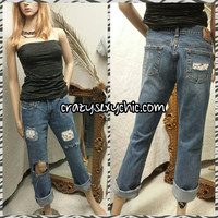 Restyled Lace Patched Jeans Women's size 6